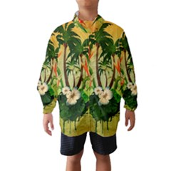 Tropical Design With Flowers And Palm Trees Wind Breaker (Kids)