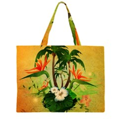 Tropical Design With Flowers And Palm Trees Large Tote Bag