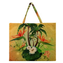 Tropical Design With Flowers And Palm Trees Zipper Large Tote Bag
