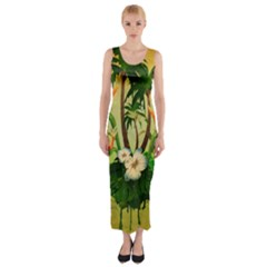 Tropical Design With Flowers And Palm Trees Fitted Maxi Dress