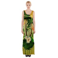 Tropical Design With Flowers And Palm Trees Maxi Thigh Split Dress