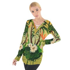 Tropical Design With Flowers And Palm Trees Women s Tie Up Tee
