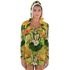 Tropical Design With Flowers And Palm Trees Women s Long Sleeve Hooded T-shirt