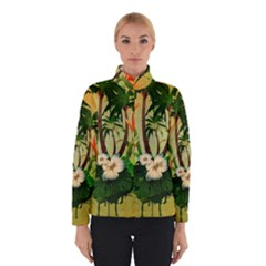 Tropical Design With Flowers And Palm Trees Winterwear
