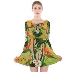 Tropical Design With Flowers And Palm Trees Long Sleeve Velvet Skater Dress