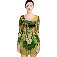 Tropical Design With Flowers And Palm Trees Long Sleeve Velvet Bodycon Dress