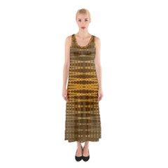 Yellow Gold Khaki Glow Pattern Full Print Maxi Dress