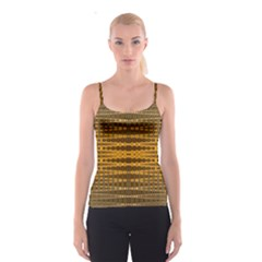 Yellow Gold Khaki Glow Pattern Spaghetti Strap Top