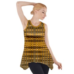 Yellow Gold Khaki Glow Pattern Side Drop Tank Tunic