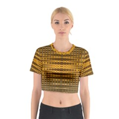 Yellow Gold Khaki Glow Pattern Cotton Crop Top