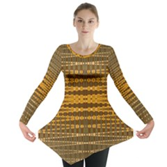 Yellow Gold Khaki Glow Pattern Long Sleeve Tunic