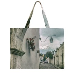 Colonial Street Of Arequipa City Peru Large Tote Bag