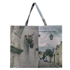 Colonial Street Of Arequipa City Peru Zipper Large Tote Bag
