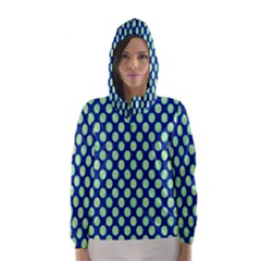 Mod Retro Green Circles On Blue Hooded Wind Breaker (women)