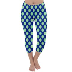 Mod Retro Green Circles On Blue Capri Winter Leggings