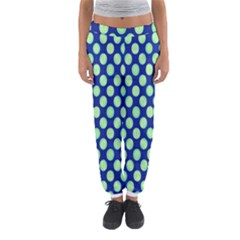 Mod Retro Green Circles On Blue Women s Jogger Sweatpants