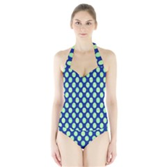 Mod Retro Green Circles On Blue Women s Halter One Piece Swimsuit