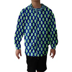 Mod Retro Green Circles On Blue Hooded Wind Breaker (kids)