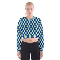 Mod Retro Green Circles On Blue Women s Cropped Sweatshirt