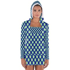 Mod Retro Green Circles On Blue Women s Long Sleeve Hooded T-shirt