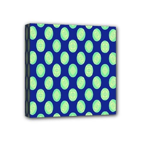 Mod Retro Green Circles On Blue Mini Canvas 4  X 4