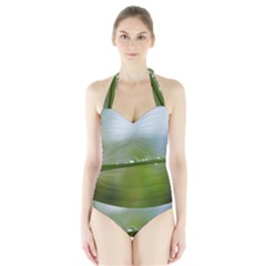 After the rain Women s Halter One Piece Swimsuit