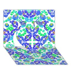 Stylized Floral Check Seamless Pattern Heart 3d Greeting Card (7x5)