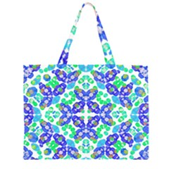 Stylized Floral Check Seamless Pattern Large Tote Bag