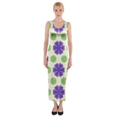 Purple flowers pattern        Fitted Maxi Dress