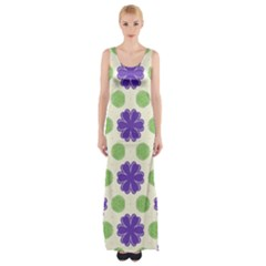Purple Flowers Pattern        Maxi Thigh Split Dress