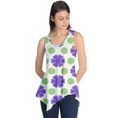 Purple flowers pattern        Sleeveless Tunic