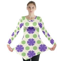 Purple flowers pattern        Long Sleeve Tunic
