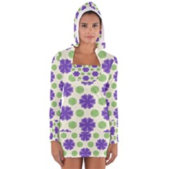 Purple Flowers Pattern        Women s Long Sleeve Hooded T Shirt
