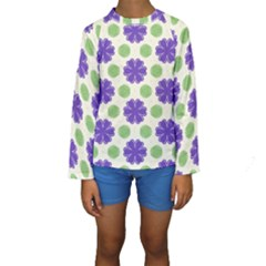 Purple flowers pattern         Kid s Long Sleeve Swimwear