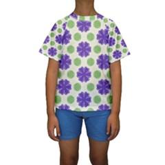 Purple flowers pattern         Kid s Short Sleeve Swimwear