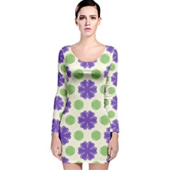 Purple flowers pattern        Long Sleeve Velvet Bodycon Dress