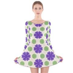 Purple Flowers Pattern        Long Sleeve Velvet Skater Dress