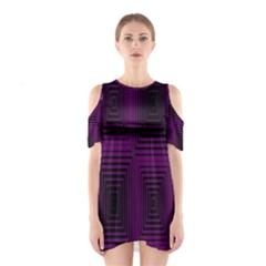 Purple black rectangles         Women s Cutout Shoulder Dress