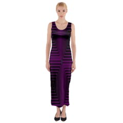 Purple black rectangles         Fitted Maxi Dress