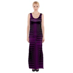 Purple black rectangles         Maxi Thigh Split Dress