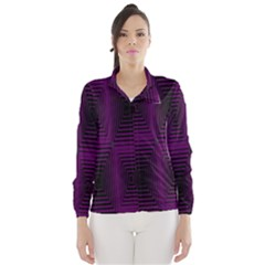 Purple Black Rectangles         Wind Breaker (women)