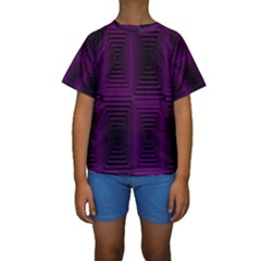 Purple black rectangles          Kid s Short Sleeve Swimwear