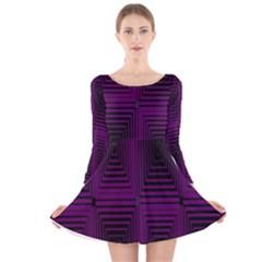 Purple black rectangles         Long Sleeve Velvet Skater Dress