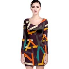 Sticks          Long Sleeve Velvet Bodycon Dress
