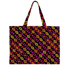 Stylized Floral Stripes Collage Pattern Large Tote Bag