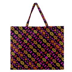Stylized Floral Stripes Collage Pattern Zipper Large Tote Bag