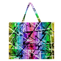 Multicolor Geometric Grunge Zipper Large Tote Bag