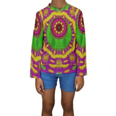 Let The Calm And The Sunshine In Kid s Long Sleeve Swimwear