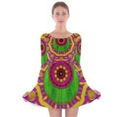 Let The Calm And The Sunshine In Long Sleeve Velvet Skater Dress