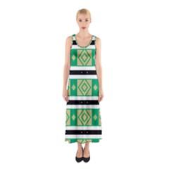 Green rhombus and stripes           Full Print Maxi Dress